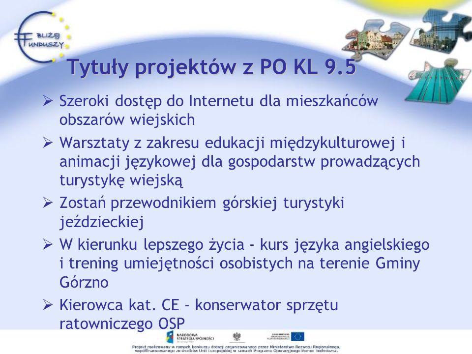 Tytuły projektów z PO KL 9.5 Szeroki dostęp do Internetu dla mieszkańców obszarów wiejskich Warsztaty z zakresu edukacji międzykulturowej i animacji j