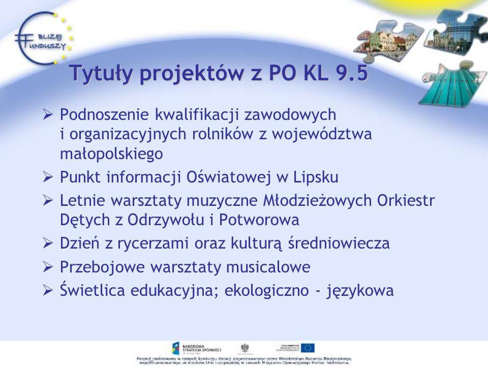 Tytuły projektów z PO KL 9.5 Podnoszenie kwalifikacji zawodowych i organizacyjnych rolników z województwa małopolskiego Punkt informacji Oświatowej w