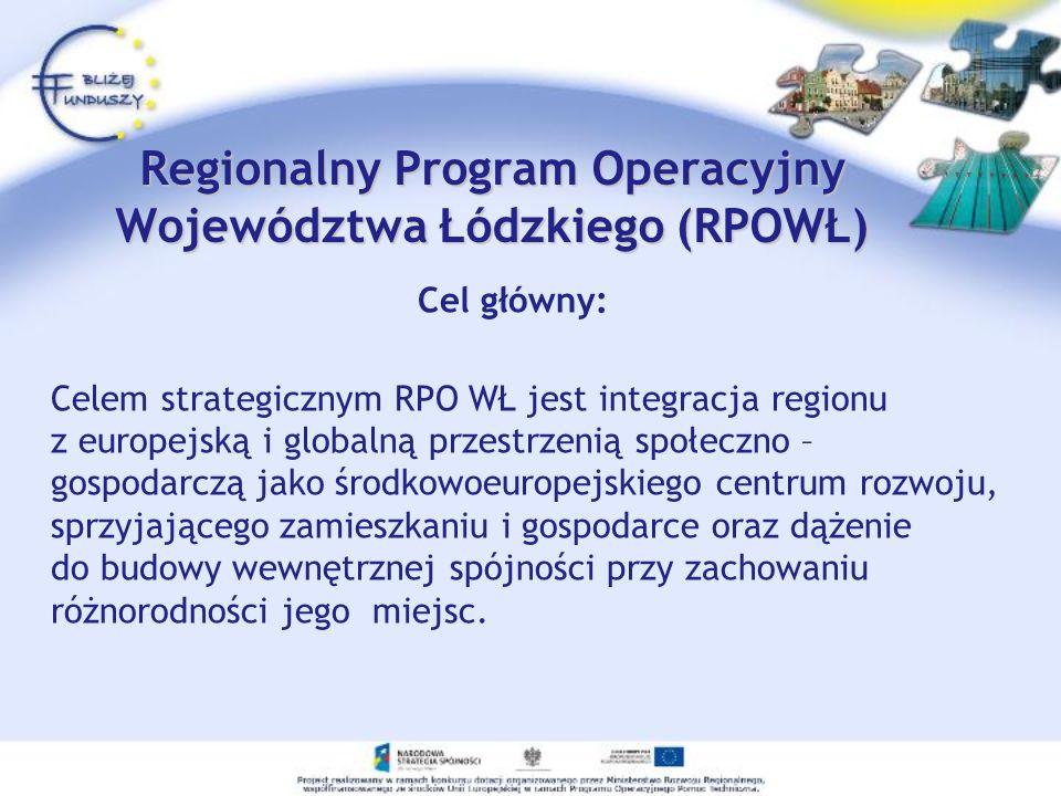 Regionalny Program Operacyjny Województwa Łódzkiego (RPOWŁ) Cel główny: Celem strategicznym RPO WŁ jest integracja regionu z europejską i globalną prz