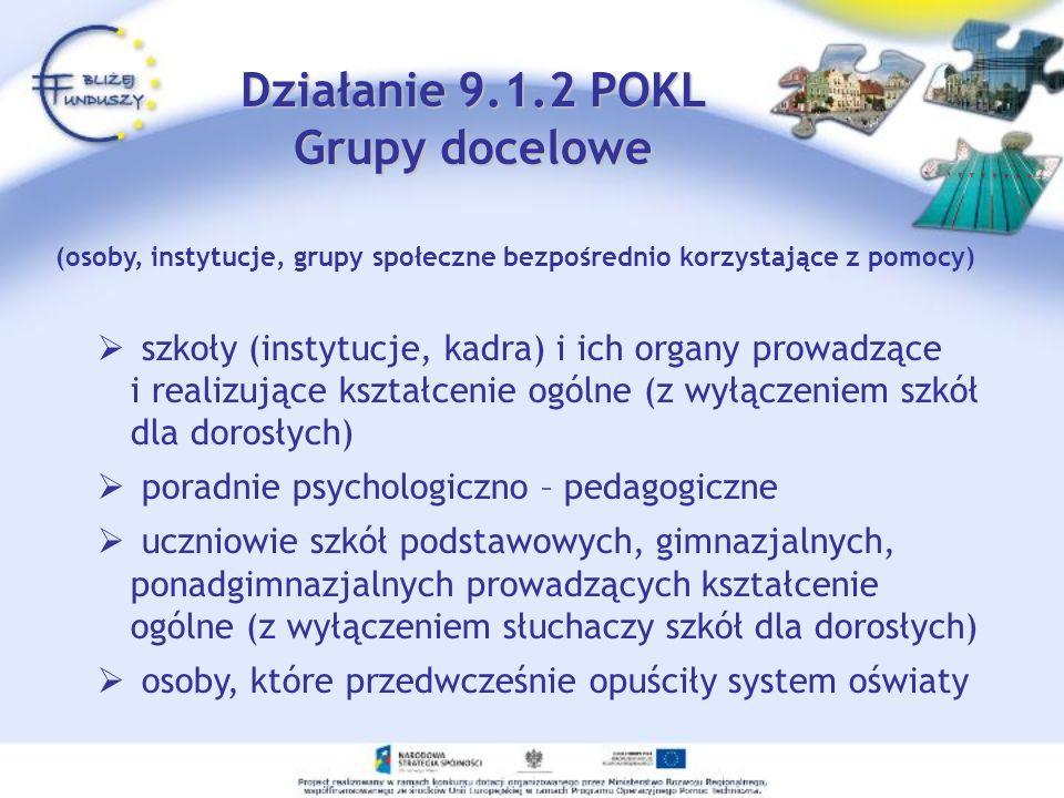 Działanie 9.1.2 POKL Grupy docelowe szkoły (instytucje, kadra) i ich organy prowadzące i realizujące kształcenie ogólne (z wyłączeniem szkół dla doros