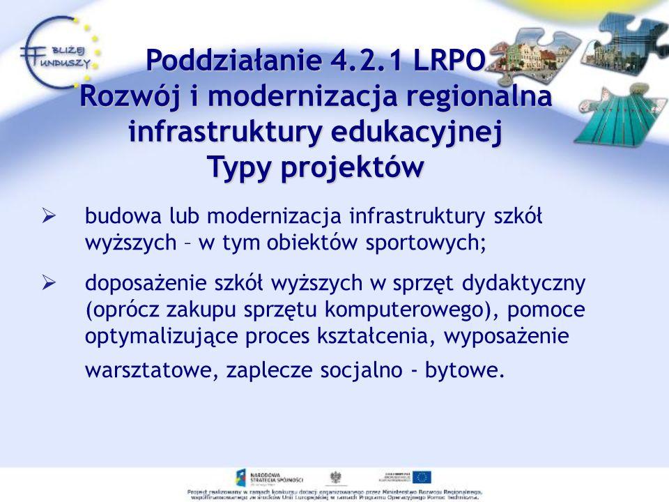 Poddziałanie 4.2.1 LRPO Rozwój i modernizacja regionalna infrastruktury edukacyjnej Typy projektów budowa lub modernizacja infrastruktury szkół wyższy