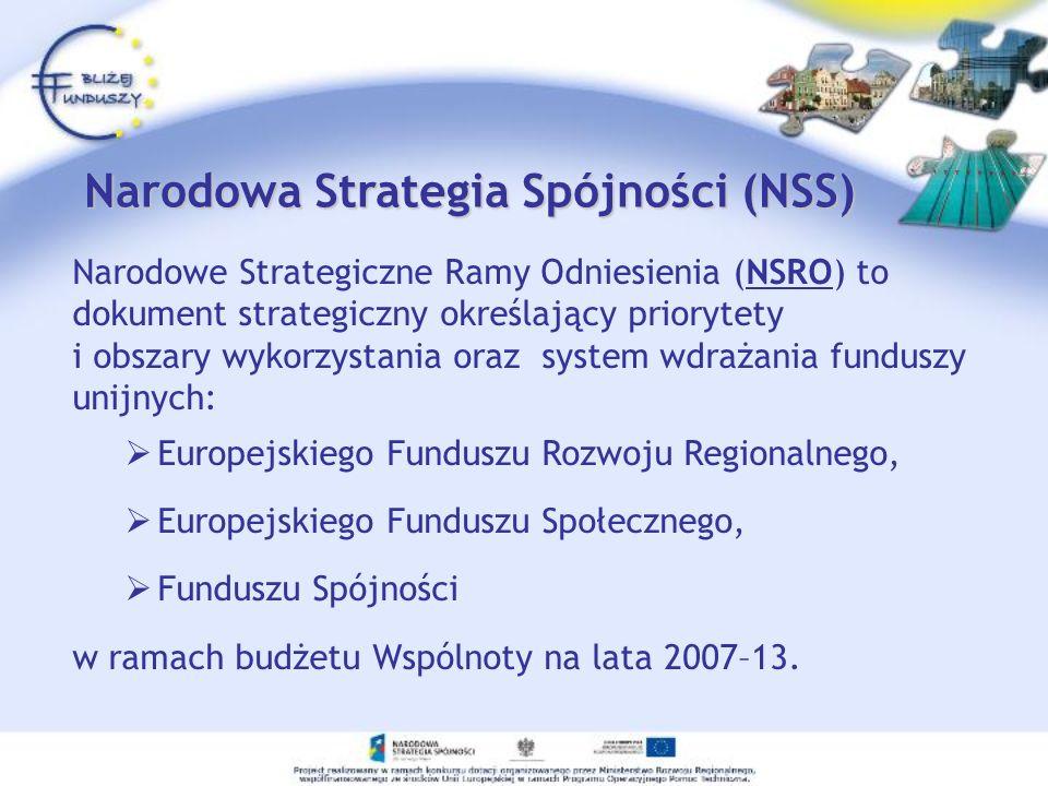 Narodowa Strategia Spójności (NSS) Narodowa Strategia Spójności (NSS) Narodowe Strategiczne Ramy Odniesienia (NSRO) to dokument strategiczny określają