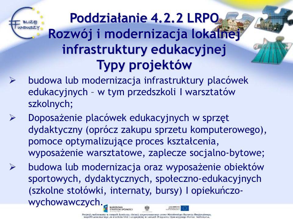 budowa lub modernizacja infrastruktury placówek edukacyjnych – w tym przedszkoli I warsztatów szkolnych; Doposażenie placówek edukacyjnych w sprzęt dy