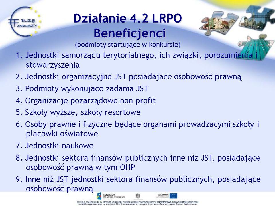 Działanie 4.2 LRPO Beneficjenci Działanie 4.2 LRPO Beneficjenci (podmioty startujące w konkursie) 1. Jednostki samorządu terytorialnego, ich związki,