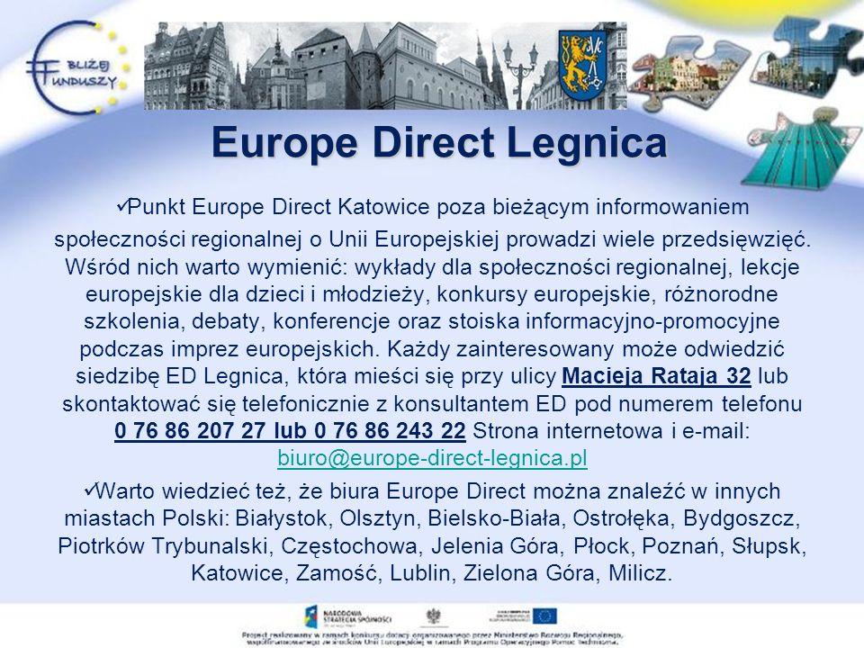 Europe Direct Legnica Punkt Europe Direct Katowice poza bieżącym informowaniem społeczności regionalnej o Unii Europejskiej prowadzi wiele przedsięwzięć.
