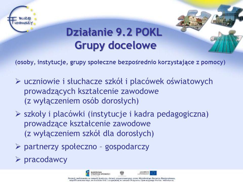 (osoby, instytucje, grupy społeczne bezpośrednio korzystające z pomocy) uczniowie i słuchacze szkół i placówek oświatowych prowadzących kształcenie zawodowe (z wyłączeniem osób dorosłych) szkoły i placówki (instytucje i kadra pedagogiczna) prowadzące kształcenie zawodowe (z wyłączeniem szkół dla dorosłych) partnerzy społeczno – gospodarczy pracodawcy Działanie 9.2 POKL Grupy docelowe