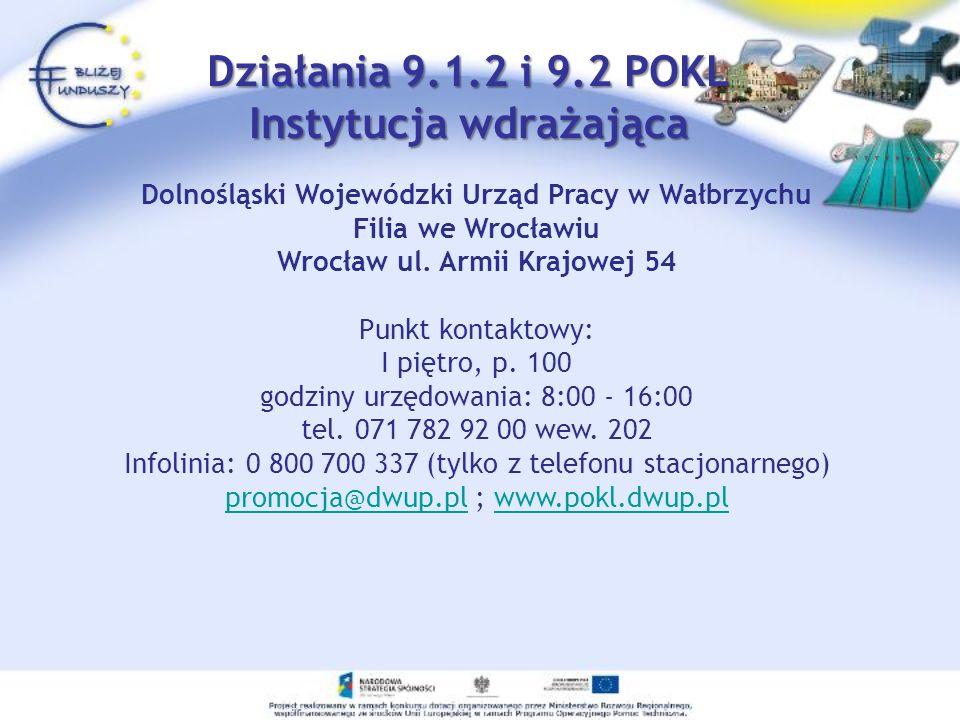Działania 9.1.2 i 9.2 POKL Instytucja wdrażająca Dolnośląski Wojewódzki Urząd Pracy w Wałbrzychu Filia we Wrocławiu Wrocław ul. Armii Krajowej 54 Punk