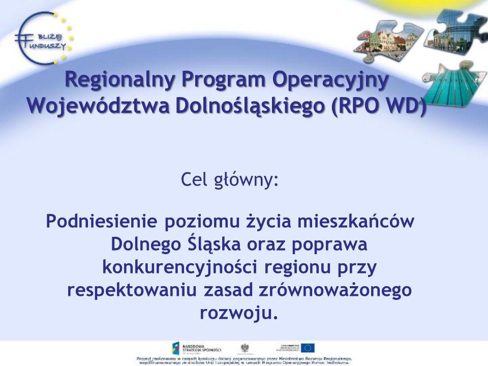 Regionalny Program Operacyjny Województwa Dolnośląskiego (RPO WD) Cel główny: Podniesienie poziomu życia mieszkańców Dolnego Śląska oraz poprawa konku