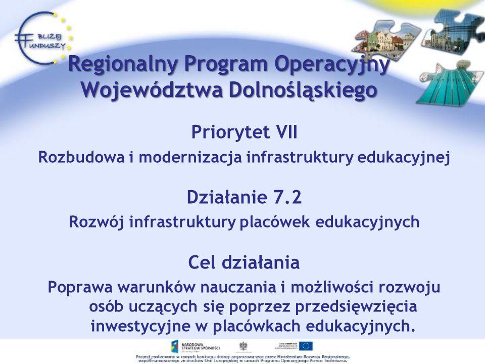Priorytet VII Rozbudowa i modernizacja infrastruktury edukacyjnej Działanie 7.2 Rozwój infrastruktury placówek edukacyjnych Cel działania Poprawa waru
