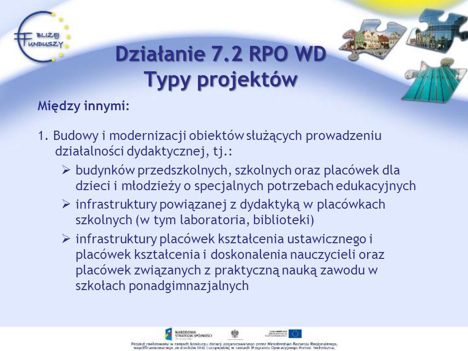 Działanie 7.2 RPO WD Typy projektów Między innymi: 1. Budowy i modernizacji obiektów służących prowadzeniu działalności dydaktycznej, tj.: budynków pr
