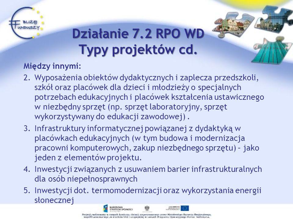 Działanie 7.2 RPO WD Typy projektów cd. Między innymi: 2.Wyposażenia obiektów dydaktycznych i zaplecza przedszkoli, szkół oraz placówek dla dzieci i m