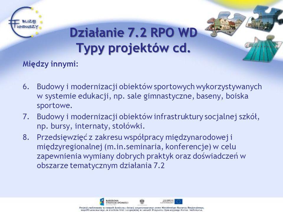 Działanie 7.2 RPO WD Typy projektów cd. Między innymi: 6.Budowy i modernizacji obiektów sportowych wykorzystywanych w systemie edukacji, np. sale gimn