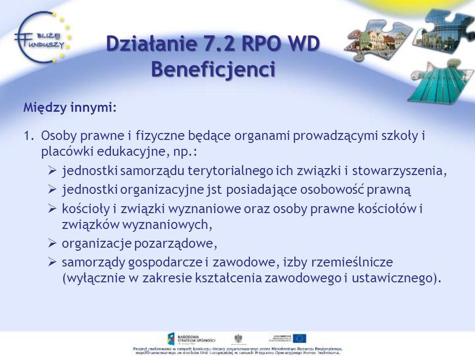 Działanie 7.2 RPO WD Beneficjenci Między innymi: 1.Osoby prawne i fizyczne będące organami prowadzącymi szkoły i placówki edukacyjne, np.: jednostki s