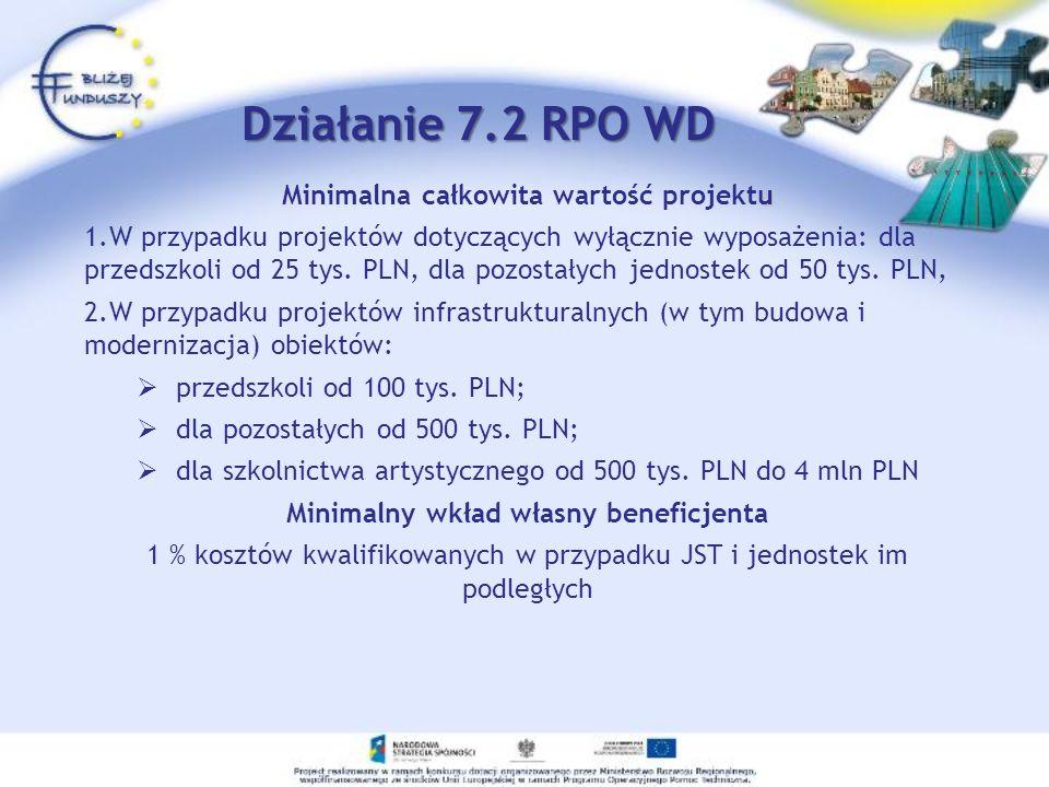 u Minimalna całkowita wartość projektu 1.W przypadku projektów dotyczących wyłącznie wyposażenia: dla przedszkoli od 25 tys. PLN, dla pozostałych jedn