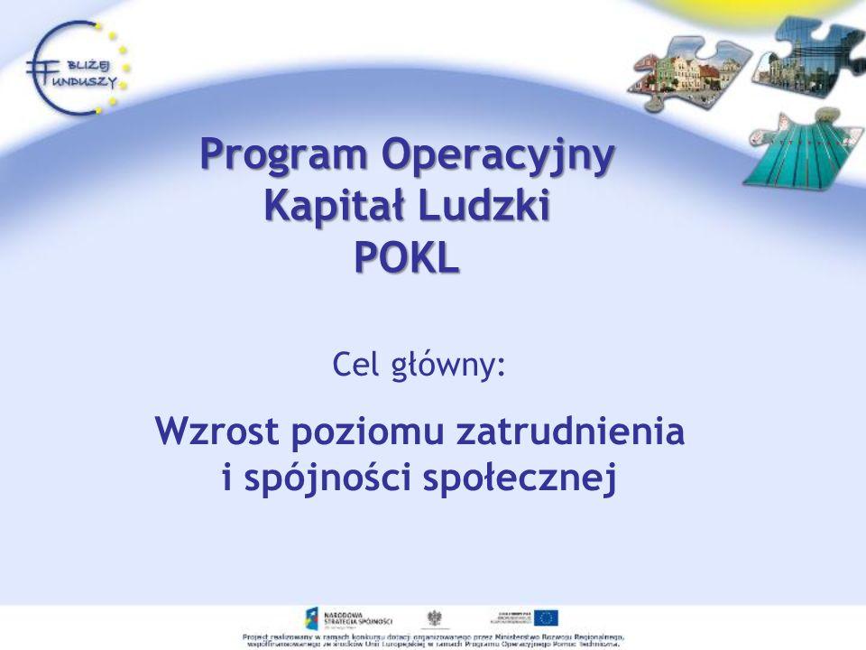 Program Operacyjny Kapitał Ludzki POKL Cel główny: Wzrost poziomu zatrudnienia i spójności społecznej