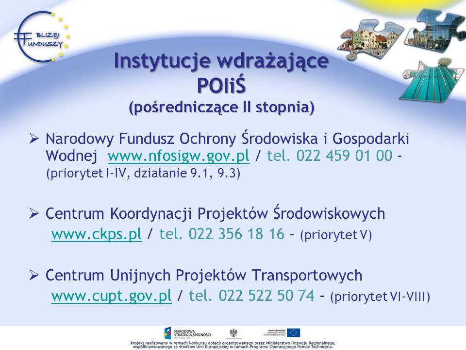 Instytucje wdrażające POIiŚ (pośredniczące II stopnia) Narodowy Fundusz Ochrony Środowiska i Gospodarki Wodnej www.nfosigw.gov.pl / tel. 022 459 01 00