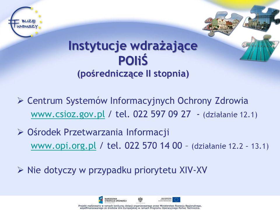 Instytucje wdrażające POIiŚ (pośredniczące II stopnia) Centrum Systemów Informacyjnych Ochrony Zdrowia www.csioz.gov.pl / tel. 022 597 09 27 - (działa