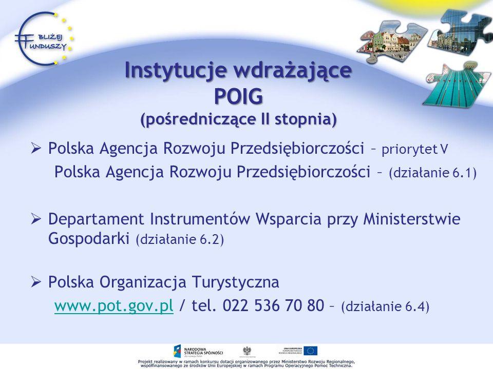 Instytucje wdrażające POIG (pośredniczące II stopnia) Polska Agencja Rozwoju Przedsiębiorczości – priorytet V Polska Agencja Rozwoju Przedsiębiorczośc