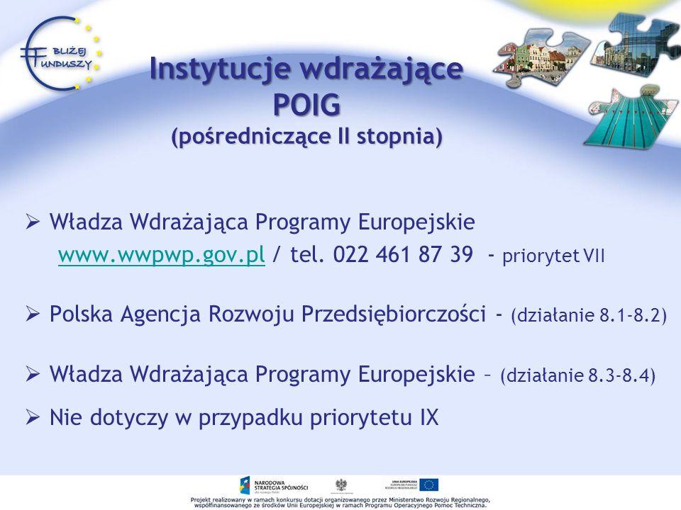Instytucje wdrażające POIG (pośredniczące II stopnia) Władza Wdrażająca Programy Europejskie www.wwpwp.gov.pl / tel. 022 461 87 39 - priorytet VIIwww.