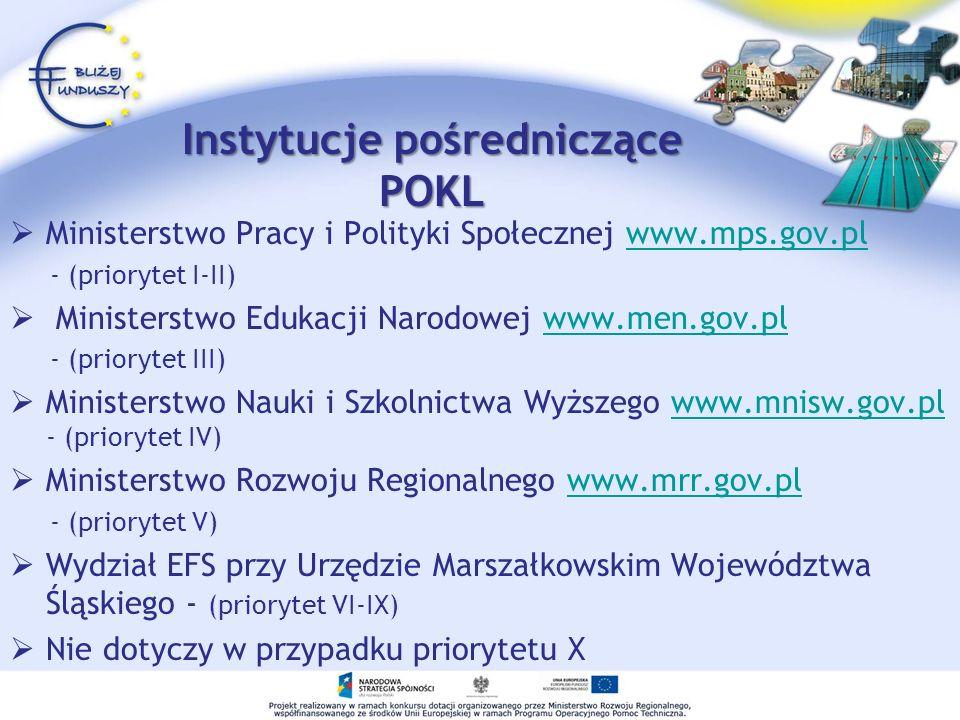 Instytucje pośredniczące POKL Ministerstwo Pracy i Polityki Społecznej www.mps.gov.plwww.mps.gov.pl - (priorytet I-II) Ministerstwo Edukacji Narodowej