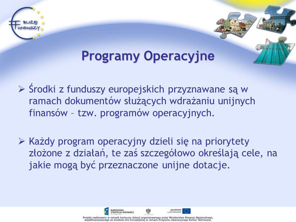 Programy Operacyjn e Środki z funduszy europejskich przyznawane są w ramach dokumentów służących wdrażaniu unijnych finansów – tzw. programów operacyj