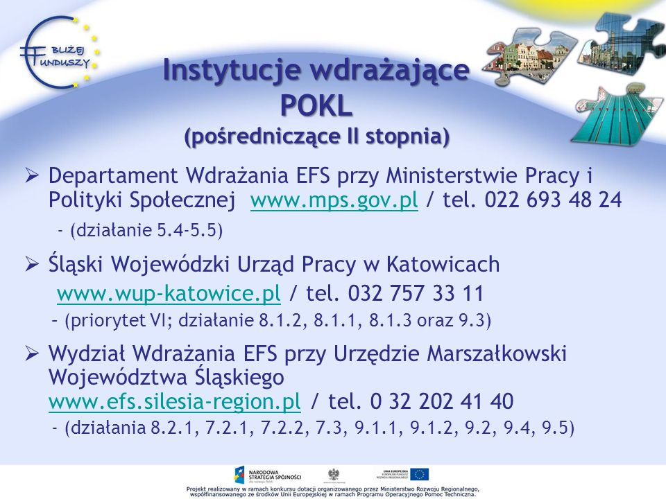 Instytucje wdrażające POKL (pośredniczące II stopnia) Departament Wdrażania EFS przy Ministerstwie Pracy i Polityki Społecznej www.mps.gov.pl / tel. 0