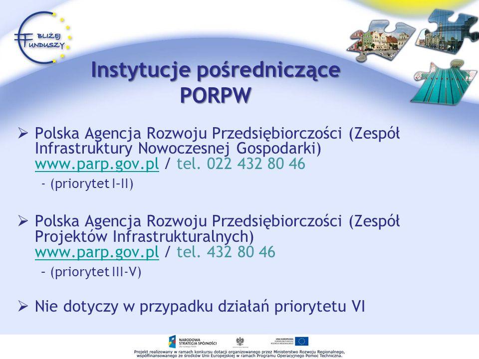 Instytucje pośredniczące PORPW Polska Agencja Rozwoju Przedsiębiorczości (Zespół Infrastruktury Nowoczesnej Gospodarki) www.parp.gov.pl / tel. 022 432