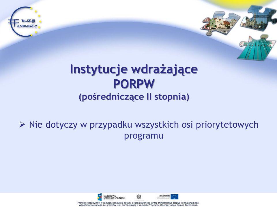 Instytucje wdrażające PORPW (pośredniczące II stopnia) Nie dotyczy w przypadku wszystkich osi priorytetowych programu