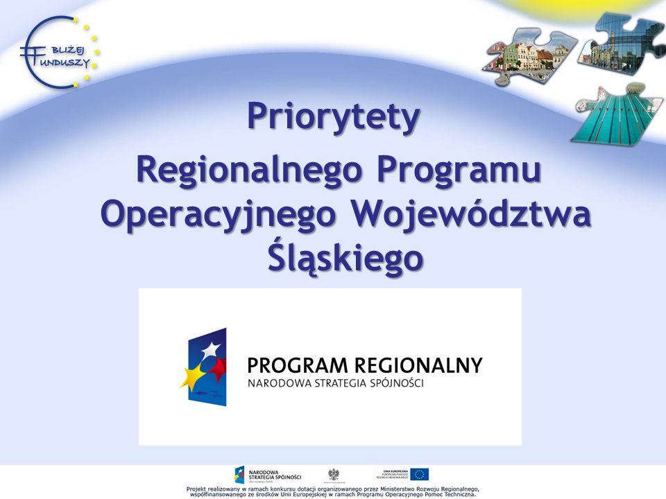 Priorytety Regionalnego Programu Operacyjnego Województwa Śląskiego Regionalnego Programu Operacyjnego Województwa Śląskiego
