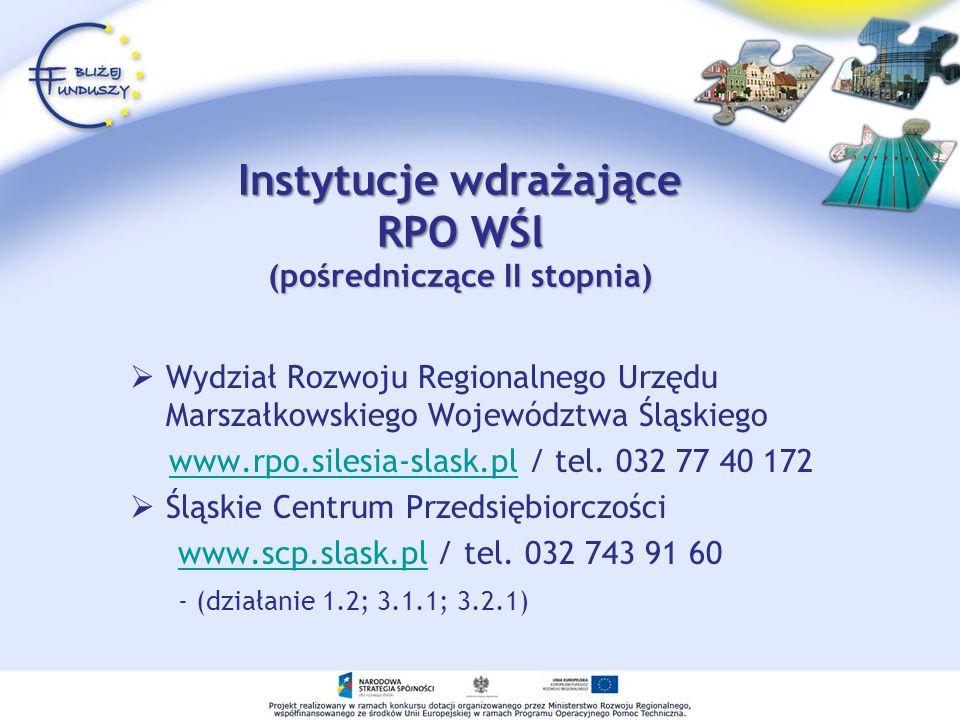 Instytucje wdrażające RPO WŚl (pośredniczące II stopnia) Wydział Rozwoju Regionalnego Urzędu Marszałkowskiego Województwa Śląskiego www.rpo.silesia-sl