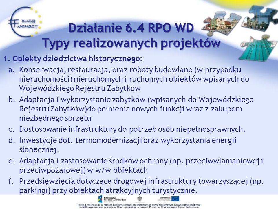 Działanie 6.4 RPO WD Typy realizowanych projektów 1.