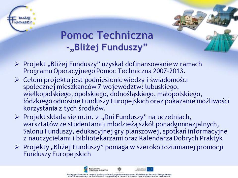 Pomoc Techniczna -Bliżej Funduszy Projekt Bliżej Funduszy uzyskał dofinansowanie w ramach Programu Operacyjnego Pomoc Techniczna 2007-2013. Celem proj
