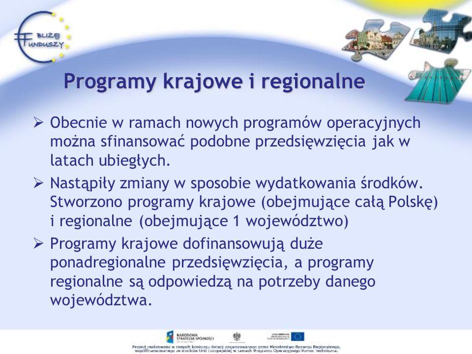 Programy krajowe i regionalne Obecnie w ramach nowych programów operacyjnych można sfinansować podobne przedsięwzięcia jak w latach ubiegłych. Nastąpi