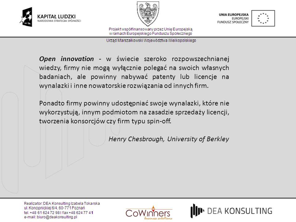 Open innovation - w świecie szeroko rozpowszechnianej wiedzy, firmy nie mogą wyłącznie polegać na swoich własnych badaniach, ale powinny nabywać paten
