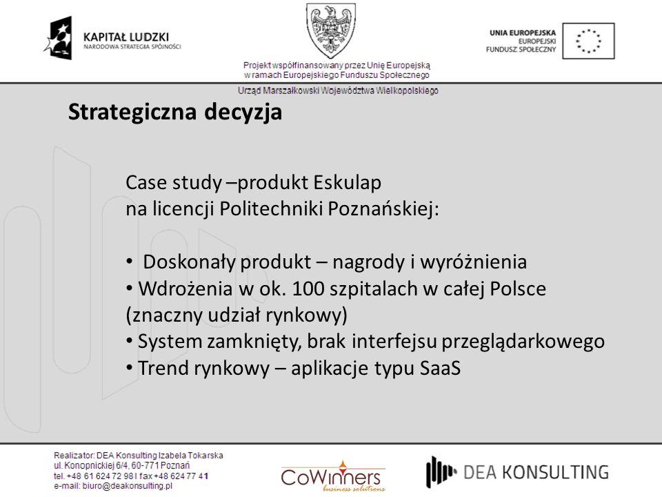 Case study –produkt Eskulap na licencji Politechniki Poznańskiej: Doskonały produkt – nagrody i wyróżnienia Wdrożenia w ok. 100 szpitalach w całej Pol