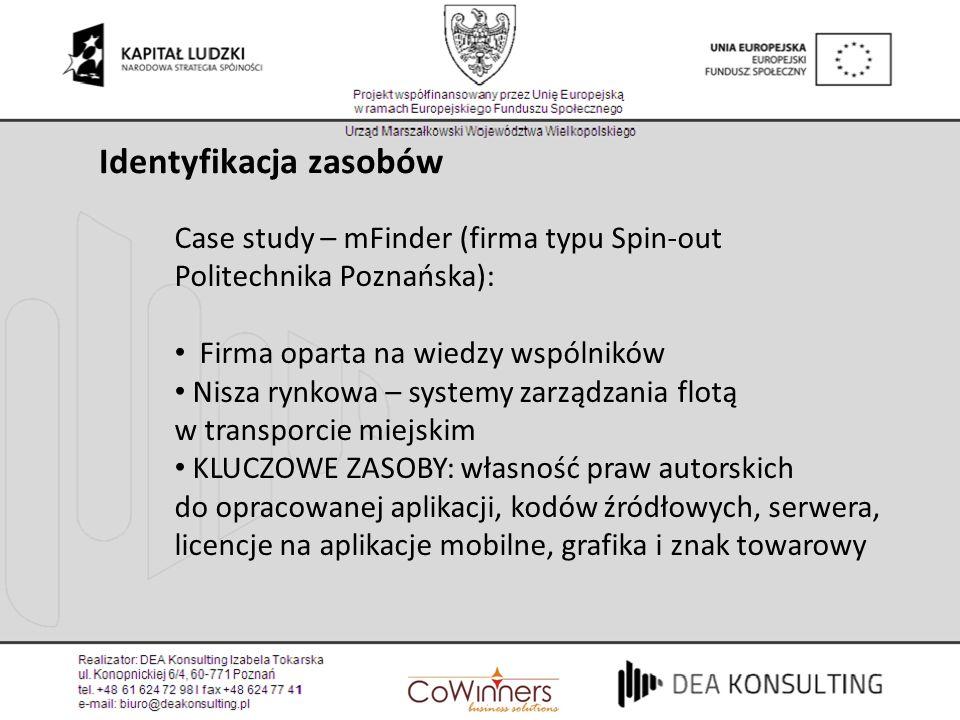 Case study – mFinder (firma typu Spin-out Politechnika Poznańska): Firma oparta na wiedzy wspólników Nisza rynkowa – systemy zarządzania flotą w trans
