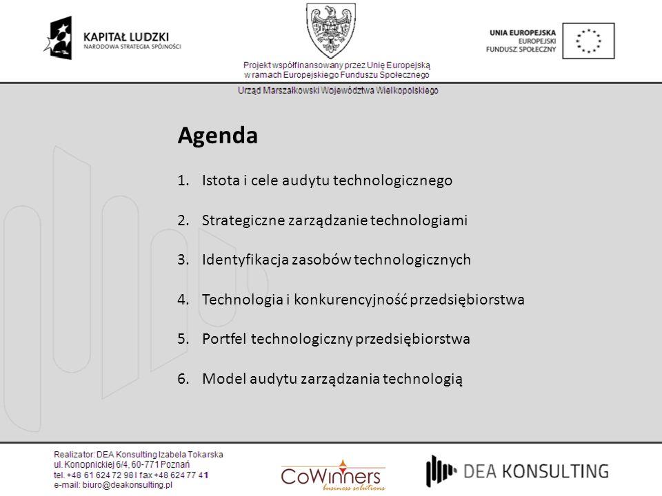 Agenda 1.Istota i cele audytu technologicznego 2.Strategiczne zarządzanie technologiami 3.Identyfikacja zasobów technologicznych 4.Technologia i konku