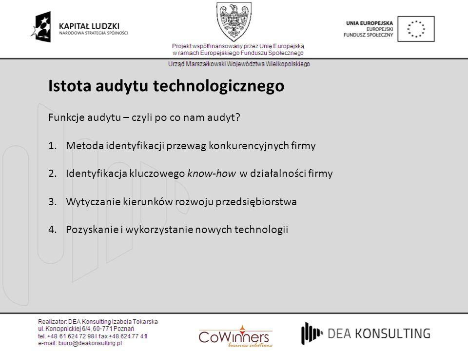 Istota audytu technologicznego Funkcje audytu – czyli po co nam audyt? 1.Metoda identyfikacji przewag konkurencyjnych firmy 2.Identyfikacja kluczowego