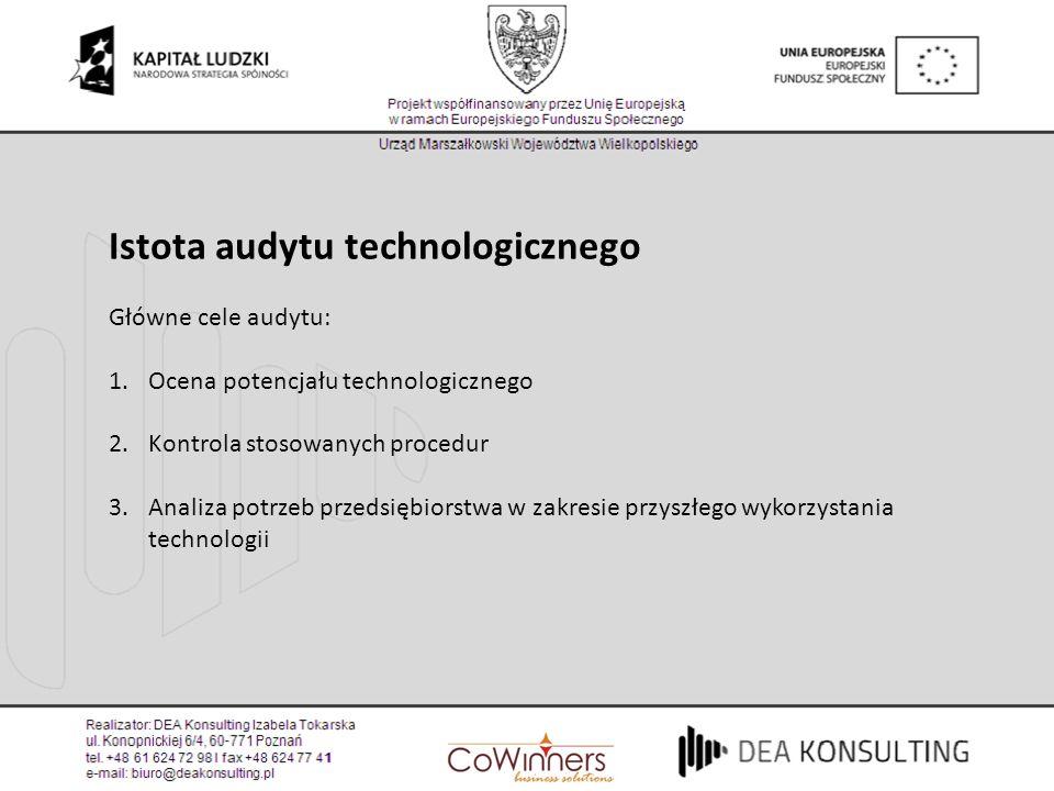 Istota audytu technologicznego Główne cele audytu: 1.Ocena potencjału technologicznego 2.Kontrola stosowanych procedur 3.Analiza potrzeb przedsiębiors