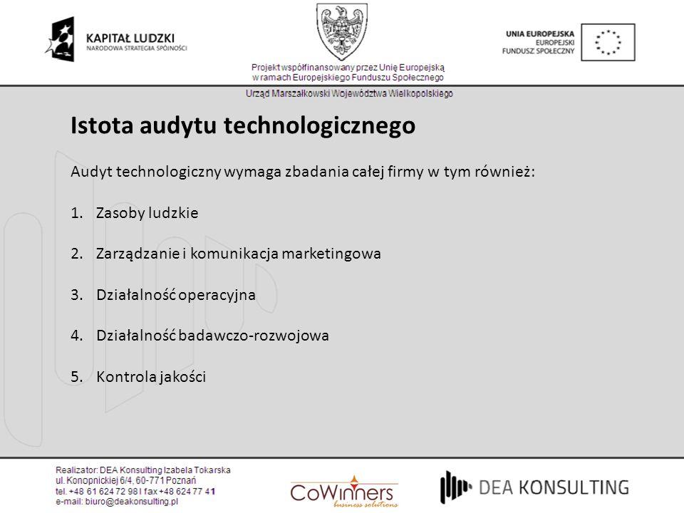 Istota audytu technologicznego Audyt technologiczny wymaga zbadania całej firmy w tym również: 1.Zasoby ludzkie 2.Zarządzanie i komunikacja marketingo