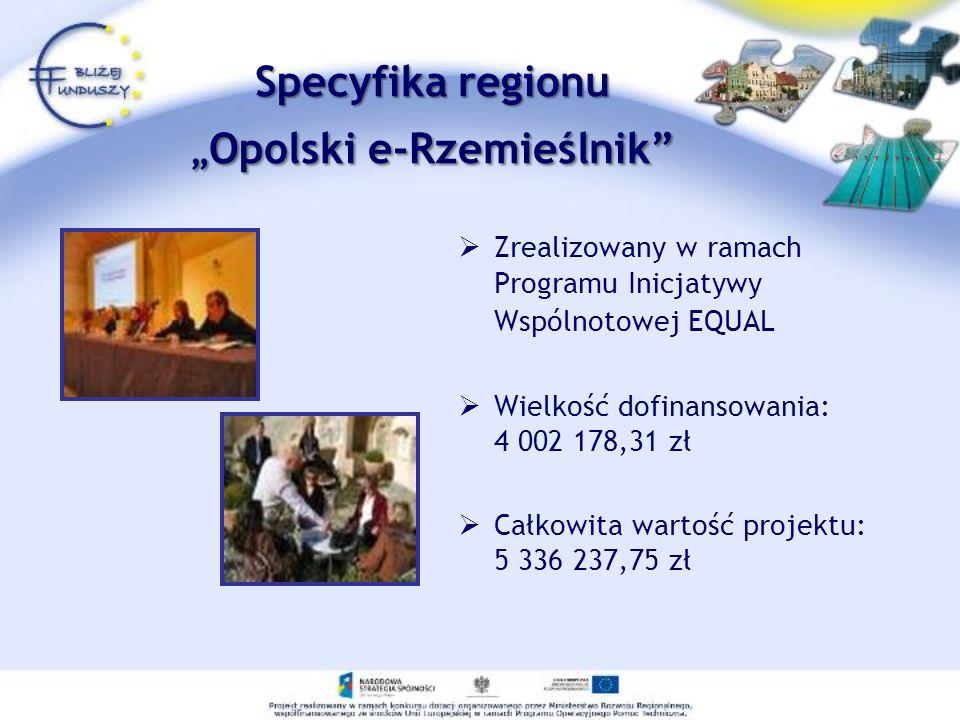 Zrealizowany w ramach Programu Inicjatywy Wspólnotowej EQUAL Wielkość dofinansowania: 4 002 178,31 zł Całkowita wartość projektu: 5 336 237,75 zł Spec