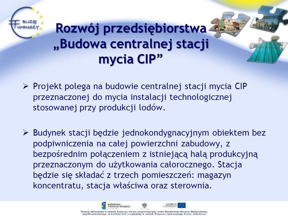Rozwój przedsiębiorstwaBudowa centralnej stacji mycia CIP Projekt polega na budowie centralnej stacji mycia CIP przeznaczonej do mycia instalacji tech