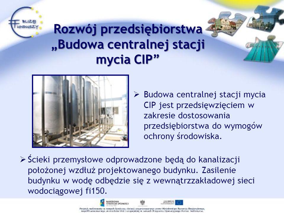 Rozwój przedsiębiorstwaBudowa centralnej stacji mycia CIP Budowa centralnej stacji mycia CIP jest przedsięwzięciem w zakresie dostosowania przedsiębio
