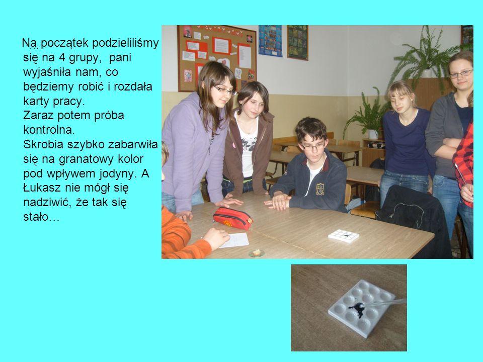 … Na początek podzieliliśmy się na 4 grupy, pani wyjaśniła nam, co będziemy robić i rozdała karty pracy. Zaraz potem próba kontrolna. Skrobia szybko z