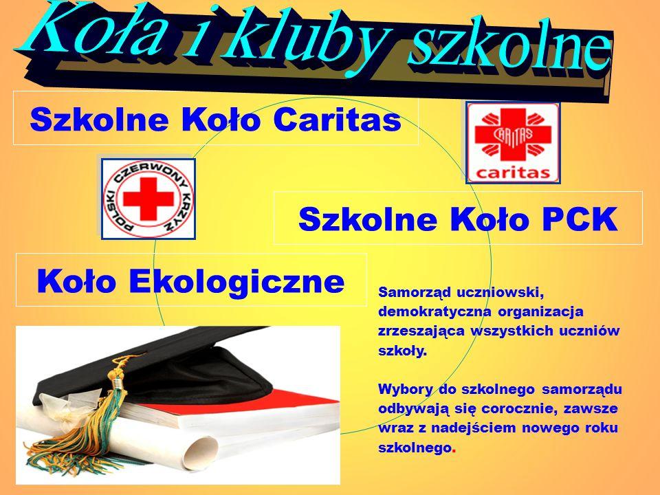 Szkolne Koło Caritas Koło Ekologiczne Szkolne Koło PCK Samorząd uczniowski, demokratyczna organizacja zrzeszająca wszystkich uczniów szkoły. Wybory do