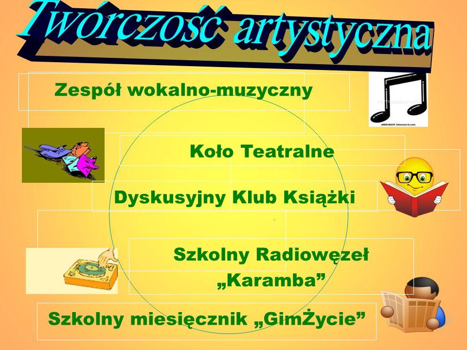 Koło Teatralne Dyskusyjny Klub Książki Szkolny Radiowęzeł Karamba Szkolny miesięcznik GimŻycie Zespół wokalno-muzyczny