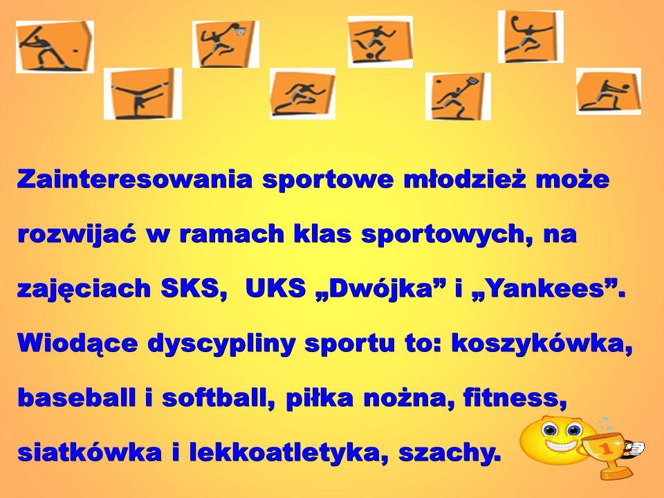 Zainteresowania sportowe młodzież może rozwijać w ramach klas sportowych, na zajęciach SKS, UKS Dwójka i Yankees. Wiodące dyscypliny sportu to: koszyk