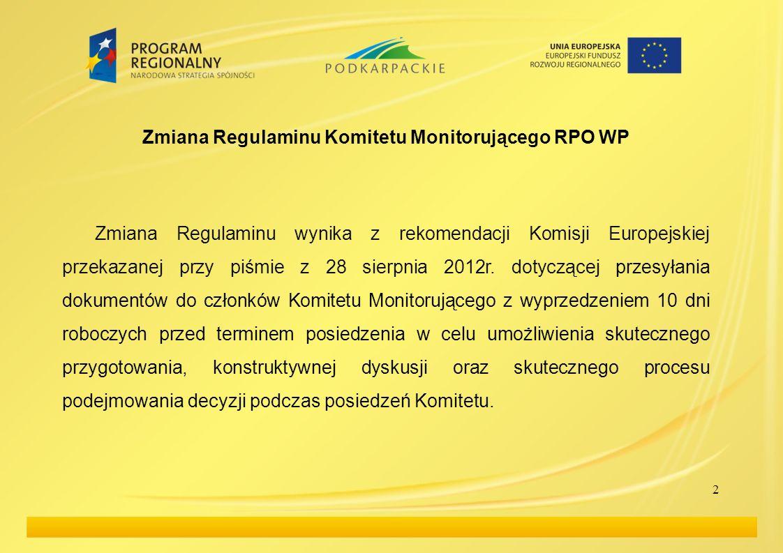 2 Zmiana Regulaminu Komitetu Monitorującego RPO WP Zmiana Regulaminu wynika z rekomendacji Komisji Europejskiej przekazanej przy piśmie z 28 sierpnia 2012r.