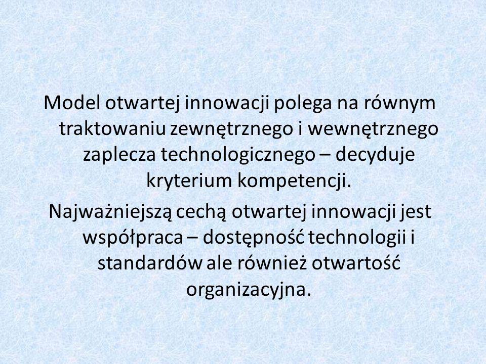 Model otwartej innowacji polega na równym traktowaniu zewnętrznego i wewnętrznego zaplecza technologicznego – decyduje kryterium kompetencji. Najważni