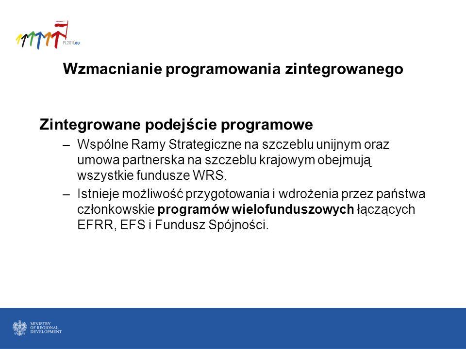 Wzmacnianie programowania zintegrowanego Zintegrowane podejście programowe –Wspólne Ramy Strategiczne na szczeblu unijnym oraz umowa partnerska na szc